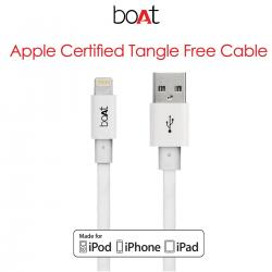 boAt Flat Premium 1M Lightning Cable. Tangle free, Fast Charging & 2.4 Amp: High Speed Data Sync Flat Cable for your iPhone, iPod and iPad. (White)