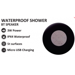 Zeno Water Resistant Bluetooth 3.0 Shower Speaker With Handsfree Speakerphone & Built-in Mic, Control Buttons and Dedicated Suction Cup