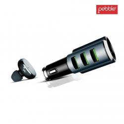 Pebble PCC3M 3 USB Car Charger with in-Built Mono Bluetooth Headset (White)