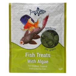 FishScience Treats with Algae Stick-on The Glass Fish Food 9g