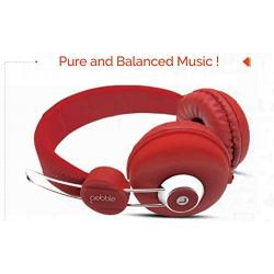 Pebble Curve Stereo Headphones Red